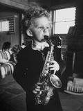 4 Year Old Preacher Marjoe Gortner, Playing the Saxaphone Premium Photographic Print