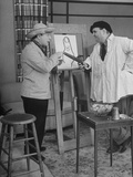 Comedian Zero Mostel Playing Artist, Painting Portrait of Joey Faye as Huck Finn Premium Photographic Print