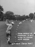 Golfer Byron Nelson Making His Second Shot on 15th Hole Premium Photographic Print