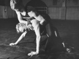 A View of US Naval Cadets Wrestling in a Gymnasium Photographic Print