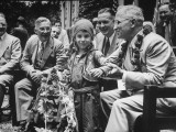 President Harry S. Truman Receiving Garland from Child Premium Photographic Print