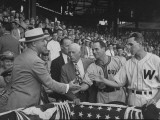 President Harry S. Truman Meeting Some of the Players at Opening Baseball Game Premium Photographic Print