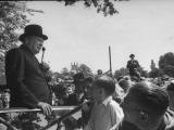 Prime Minister Winston Churchill Making a Speech During an Election Tour Premium Photographic Print