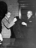 Vice-President Harry S. Truman Checking His Hat and Coat after Arriving at Reception Premium Photographic Print