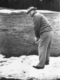 US Cabinet Member Frank Knox Playing Golf in the Snow Premium Photographic Print