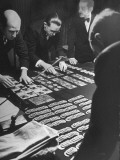 Casino Employees Counting Money for Opening of the International Sporting Club Premium Photographic Print