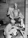 Boxer Joe Louis Preparing for an Exhibition Bout During a Tour of Fort Devons Premium Photographic Print