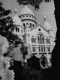 French Painter Maurice Utrillo Standing in Front of Sacre Coeur Premium Photographic Print