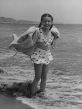 Child Actress Margaret O'Brien Posing at the Beach Premium Photographic Print