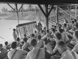 An Army Class in Chemical Warfare Taught in the Grandstand of the Flamingo Park Baseball Field Premium Photographic Print