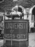 President Harry S. Truman Speaking at University of Kansas City Premium Photographic Print