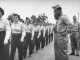 Boxer Joe Louis Reviewing Wac Trainees During a Tour of Fort Devons During WWII Premium Photographic Print