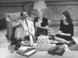 Comedian Groucho Marx Playing a Game with Two Women Premium Photographic Print