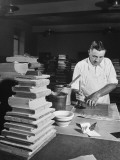 A Man Covering Book Signitures and Sewing with Glue and Binder Paper at the Congressional Library Premium Photographic Print