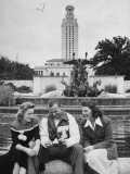 Univ. of Texas Football Player Jack Crain Sitting with Two Female Students Premium Photographic Print