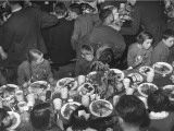 Children Eating Thanksgiving Dinner at the Great Britain Headquarters Premium Photographic Print