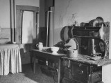 Kitchen of the Campbell Mansion, with an Old-Fashioned Iron Cook Stove Premium Photographic Print