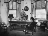 Russell Birdwell Dictating to His Secretary in His Office Premium Photographic Print