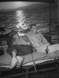 Major Kenneth Trout and His Wife Ella Raines Sitting Together on a Boat Photographic Print