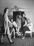 Actress Judy Canova, Watching a Woman Model Clothing Premium Photographic Print