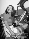 Actress Jinx Falkenburg Sitting at the Wheel of a Convertible Premium Photographic Print