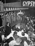 Gypsy Rose Lee and Her Girls Performing for a Traveling Carnival Show Photographic Print
