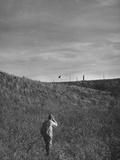 Pheasant Hunter Shooting at Bird Premium Photographic Print