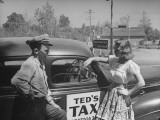Actress Donna Reed Sees Towns Only Taxi Premium Photographic Print
