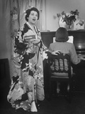 Opera Singer Mary Henderson Practicing in Costume Premium Photographic Print