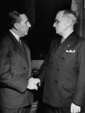 Senator Claude D. Pepper Shaking Hands with Vice-President Harry S. Truman at Reception Premium Photographic Print
