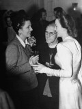 Actress Carole Landis Talking with Actress Kay Francis About Wedding Ceremony as Cleric Listens Premium Photographic Print