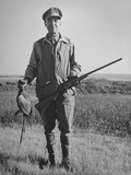 Pheasant Hunter Posing with Bird He Shot During Hunt Premium Photographic Print