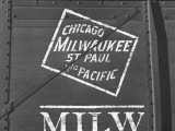 Milwaukee Road Boxcar Showing Logo Premium Photographic Print