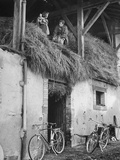 Former GI Ernest Kreiling Showing His Bride the Hayloft Where He Spent Thanksgiving 1944 Premium Photographic Print