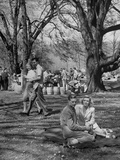 Students of Cornell University Enjoy a Picnic, Sylvia Killbourne and Bill Hosie Sharing a Blanket Premium Photographic Print