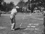 Golfer Byron Nelson Making an Excellent Approach Shot on 12th Hole Premium Photographic Print