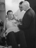 Actor Fred Allen Talking with Salesmen on the Set Premium Photographic Print