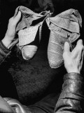 Former Cowboy Actor William S. Hart Holding Moccasins Worn by Indian Chief Rain-In-The-Face Premium Photographic Print