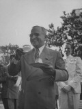 President Harry S. Truman, Having a Drink and Some Dessert at the War Veteran Garden Party Premium Photographic Print