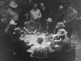 Hotel Owner Newton Crumley and Others Playing Old-Fashioned Poker Game Premium Photographic Print
