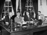President Harry S. Truman Meeting with Congressmen in the Oval Office Premium Photographic Print