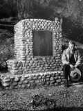 Former Cowboy Actor William S. Hart, Mourning at His Horses Grave Site Premium Photographic Print