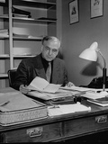 Director Rudolf Wendbladh of the Royal Dramatic School in Stockholm, Sitting at His Desk Premium Photographic Print