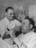 Actor Fred Allen Talking with His Make Up Artist While Ectoplasm Is Removed from His Face Premium Photographic Print