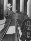 President Harry S. Truman Making a Speech During Army Day Premium Photographic Print