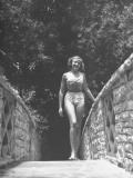 Actress Laraine Day Walking on Path in a Bathing Suit Premium Photographic Print