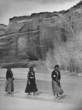 "Women Wading in the ""De Chelly Canyon"" in Native Dress Premium Photographic Print"