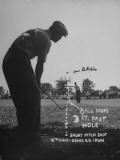 Golfer Byron Nelson Pitching His Shot onto the Green on 16th Hole, Going Three Feet Past the Hole Reproduction photographique sur papier de qualité