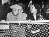 Baseball Player Babe Ruth Sitting in the Stands at Yankee Stadium During Babe Ruth Day Premium Photographic Print