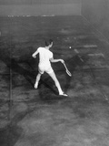 Jack Leonard Playing in the National Amateur Championship Racquet Match at Local Tennis Club Premium Photographic Print
